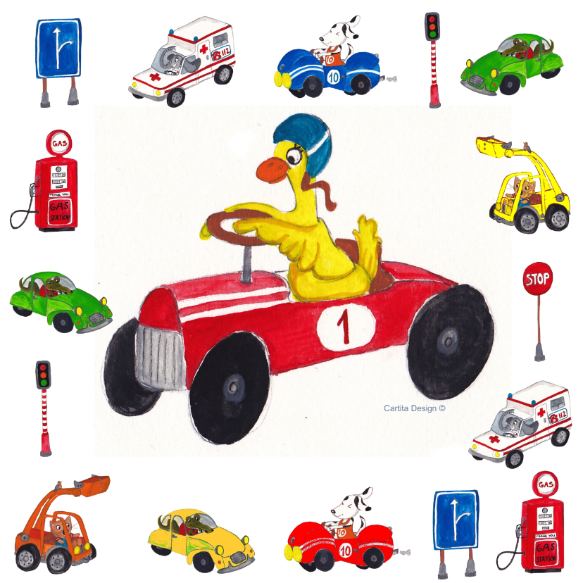 Kinderkaarten - Sport Auto Eend jongen
