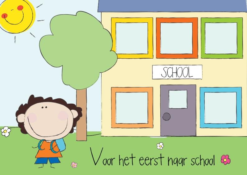 Kinderkaarten - Voor het eerst naar school jongen
