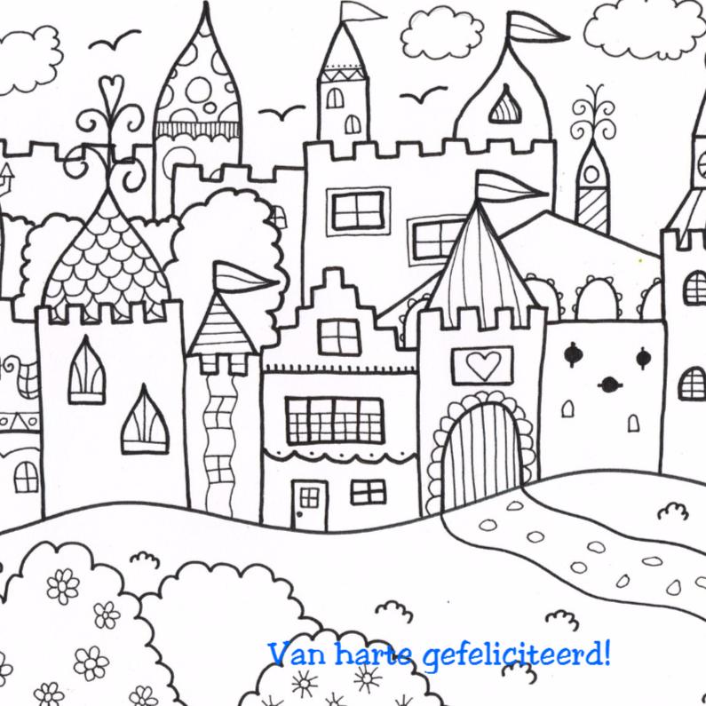 kasteel voor stoere jongens en meisjes kleurplaat