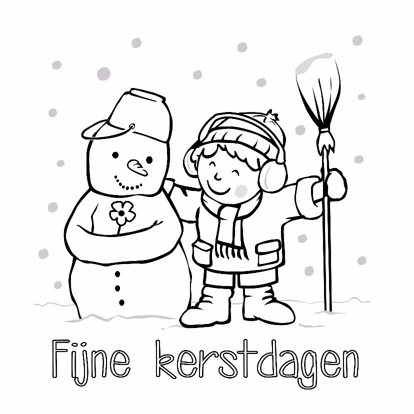 Kerst Inkleurkaart Met Sneeuwpop En Jongetje Kaartje2go