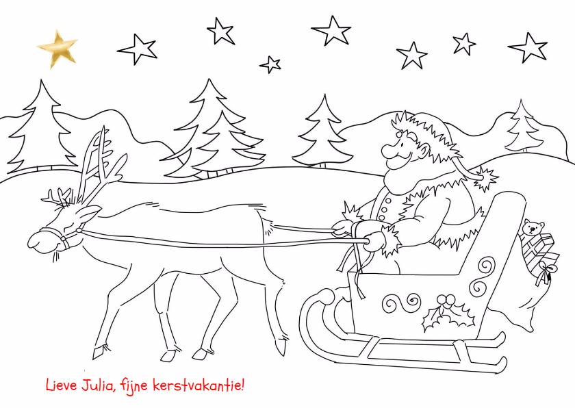 kleurplaat kerstman op slee kaartje2go