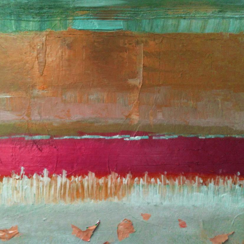 Kunstkaarten - Abstract landschap groen goud rood