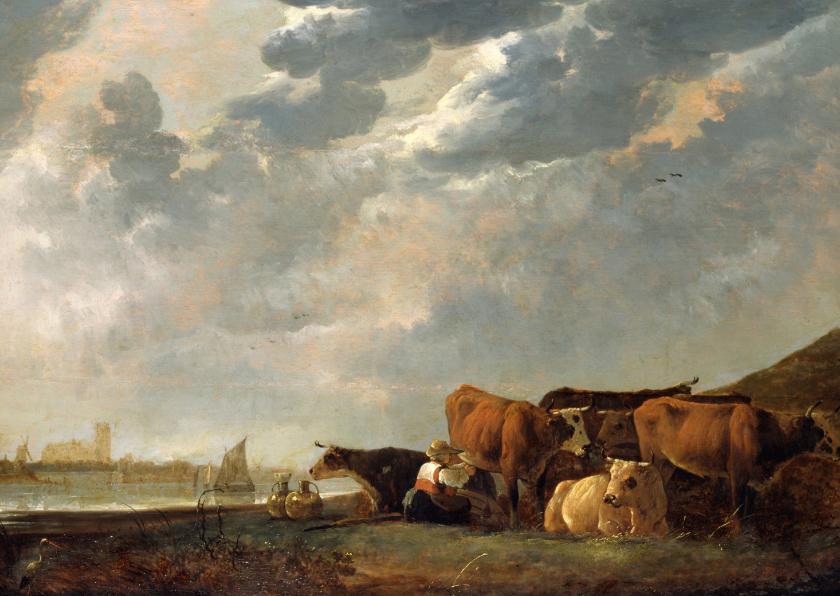 Kunstkaarten - Albert Cuyp. Vee bij de Maas