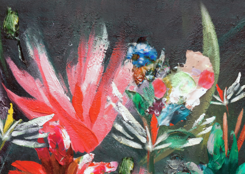 Kunstkaarten - Antraciet & bloemen schildering