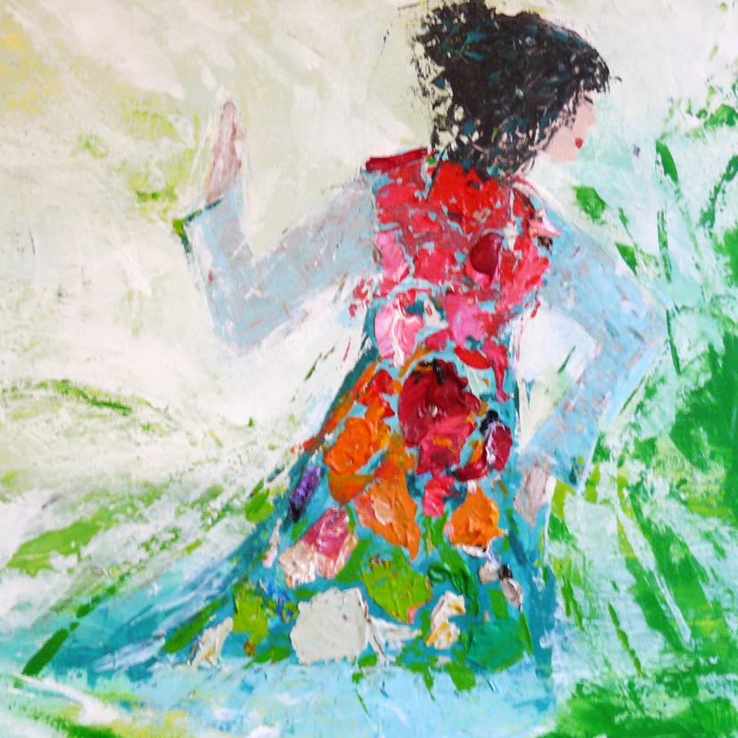 Kunstkaarten - Geschilderde dame met kleurige jurk