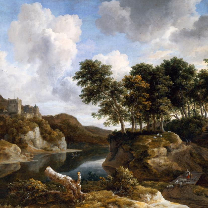 Kunstkaarten - Jacob van Ruisdael. Rivierlandschap