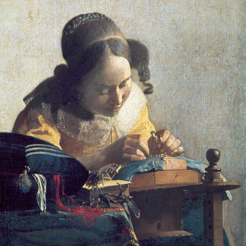 Kunstkaarten - Johannes Vermeer. De kantwerkster