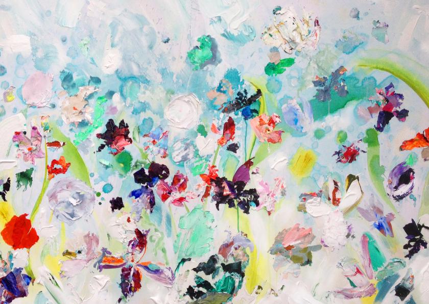 Kunstkaarten - Kunst bloemen schilderij Regen
