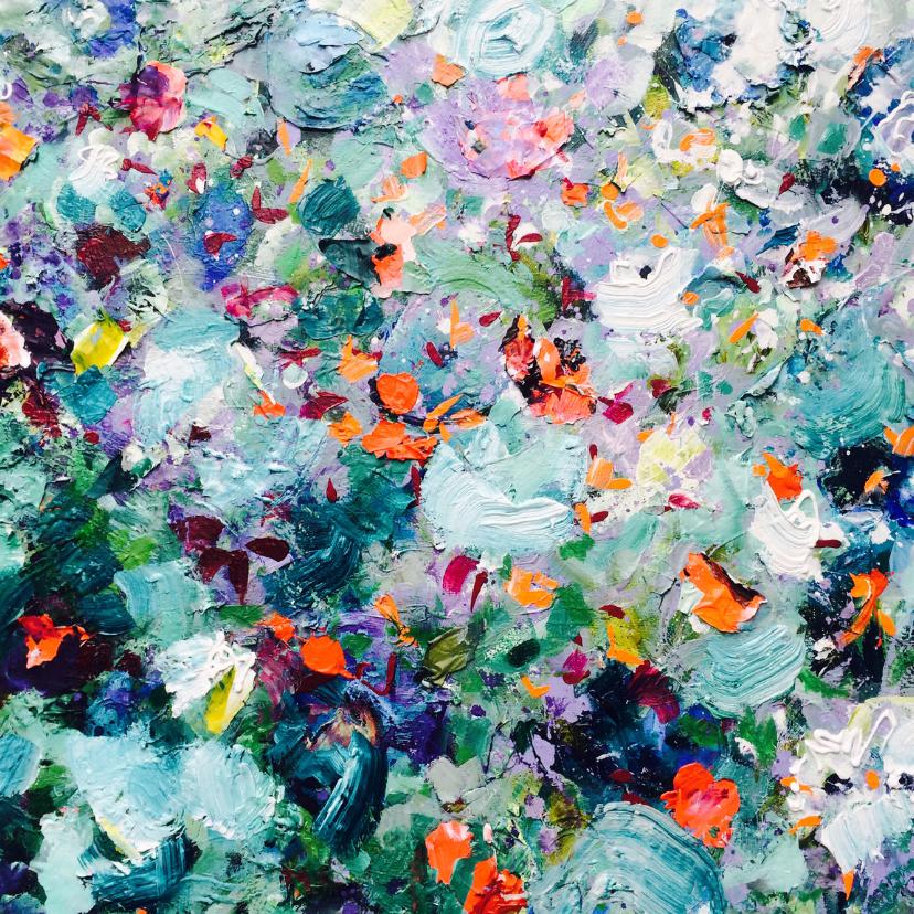 Kunstkaarten - Kunst schilderij heuvel bloemen