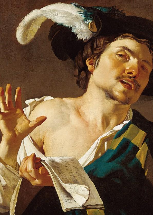 Kunstkaarten - Kunstkaart van Dirck van Baburen. Zingende jonge man