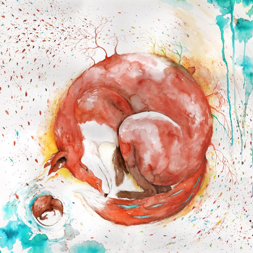 Kunstkaarten - Kunstkaart van een vos