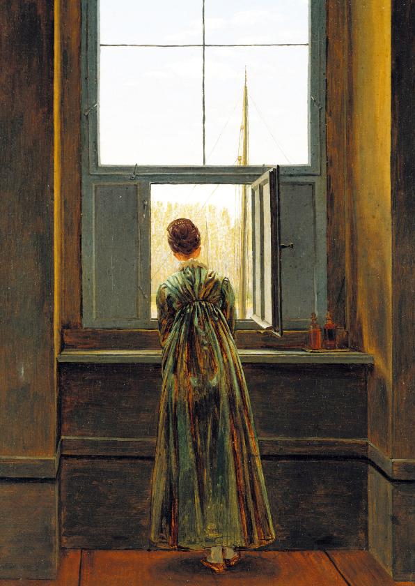 Kunstkaarten - Kunstkaart van Friedrich. Vrouw bij het raam