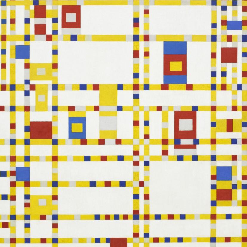 Kunstkaarten - Kunstkaart van Piet Mondriaan. Broadway Boogie Woogie