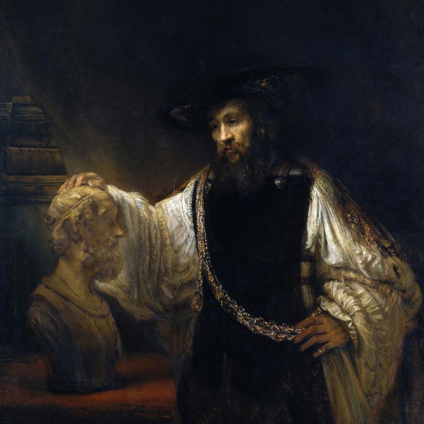 Kunstkaarten - Kunstkaart van Rembrandt van Rijn. Aristoteles met de buste