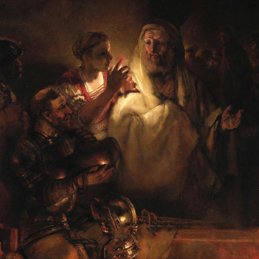 Kunstkaarten - Kunstkaart van Rembrandt van Rijn. Verloochening van Petrus