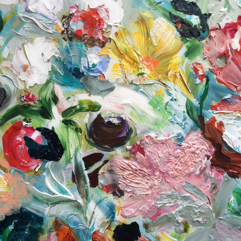 Kunstkaarten - Schilderij Bloemen geel rood