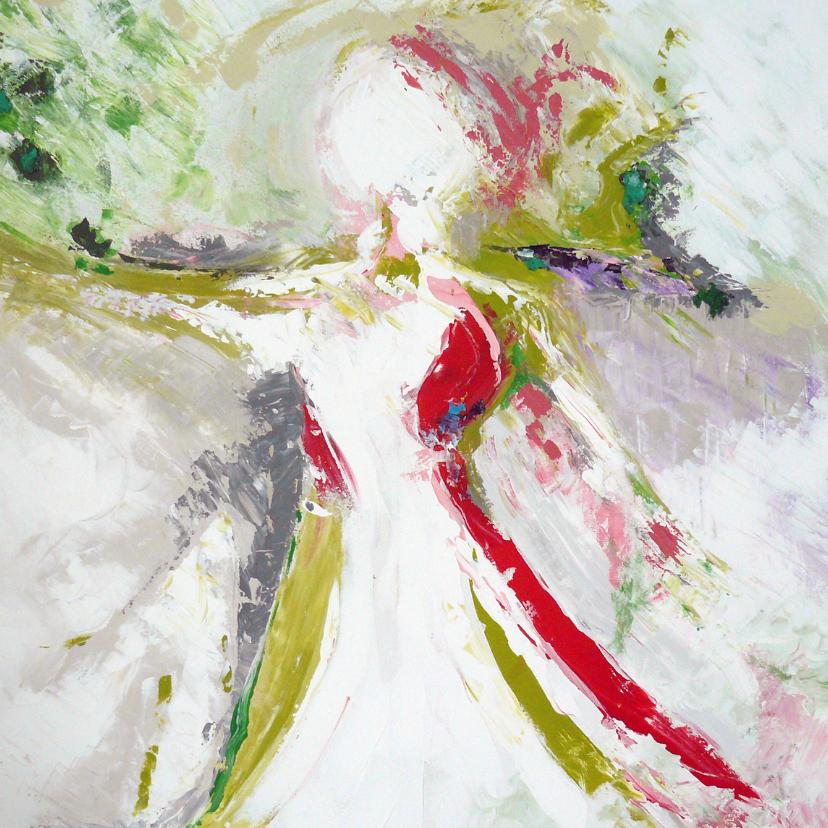 Kunstkaarten - Schilderij vrouw in wijde wereld