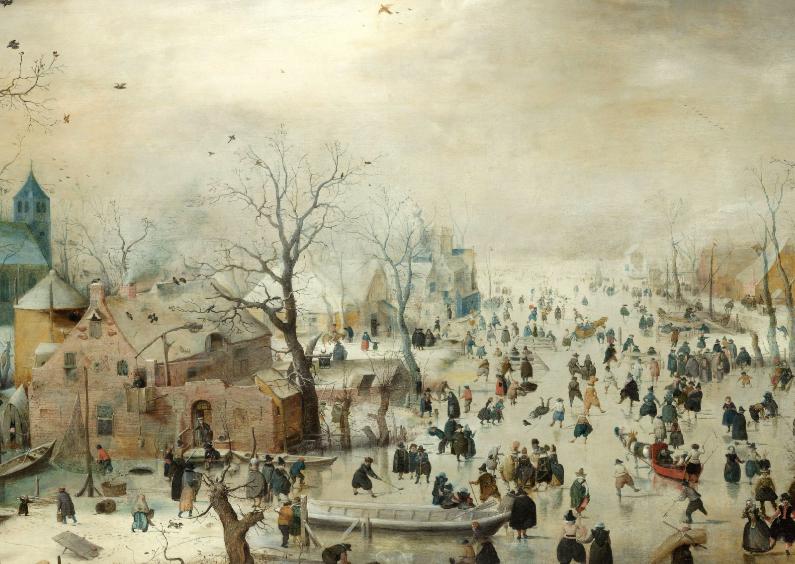 Kunstkaarten - Winterlandschap met schaatsers