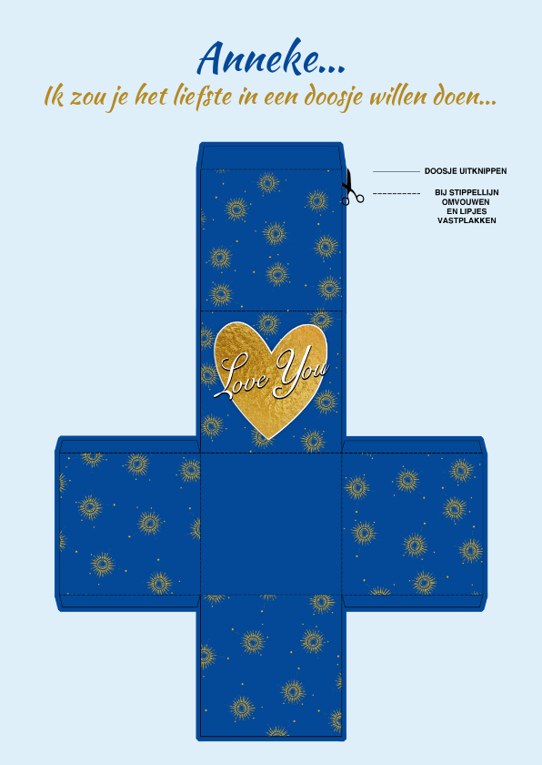 Liefde kaarten - Blauw doosje met zonnetjes en tekst: Love You