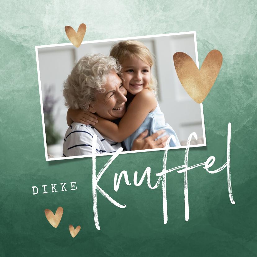 Liefde kaarten - Fotokaart dikke knuffel waterverf gouden hartjes