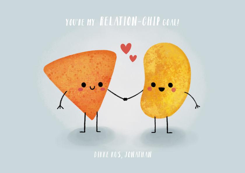 """Liefde kaarten - Grappige liefdekaart """"relation-chip goals"""" met chipjes"""