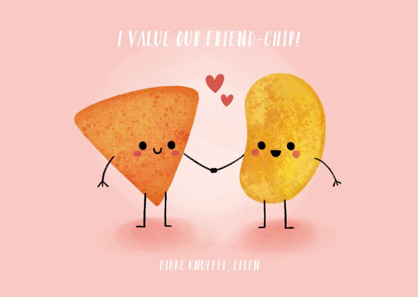 """Liefde kaarten - Grappige liefdeskaart """"friend-chip"""" met chips illustratie"""