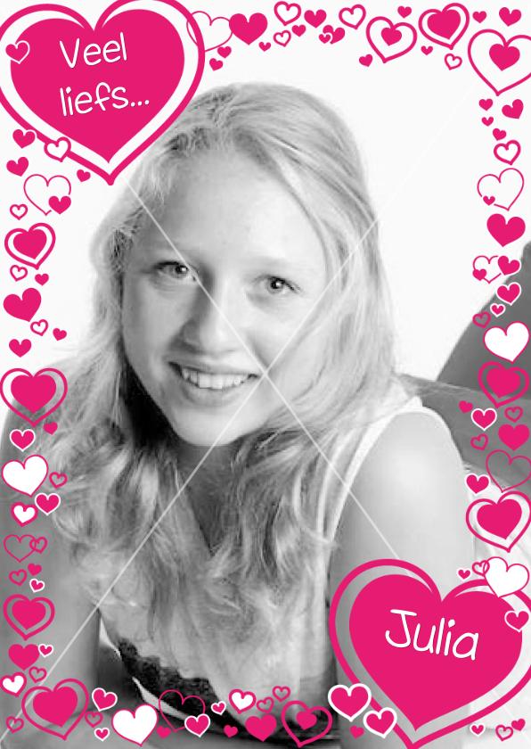 Liefde kaarten - HARTJES Fotokaart met roze hartjes