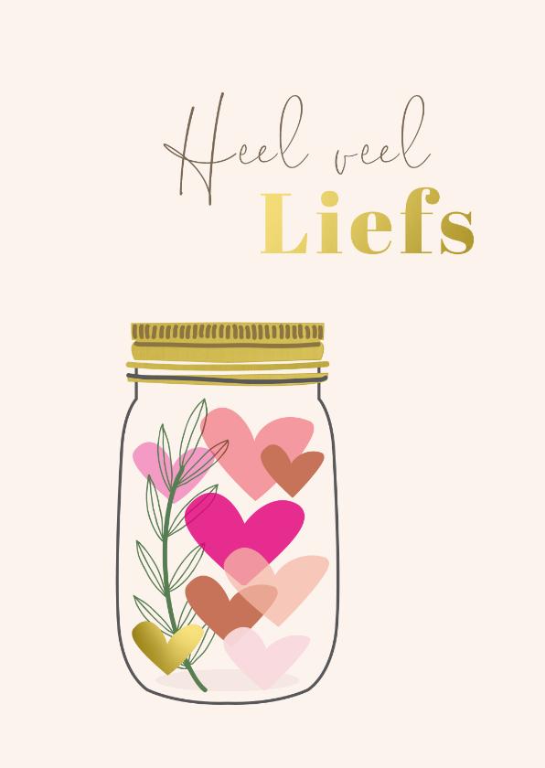 Liefde kaarten - Heel veel liefs in glazen pot met hartjes