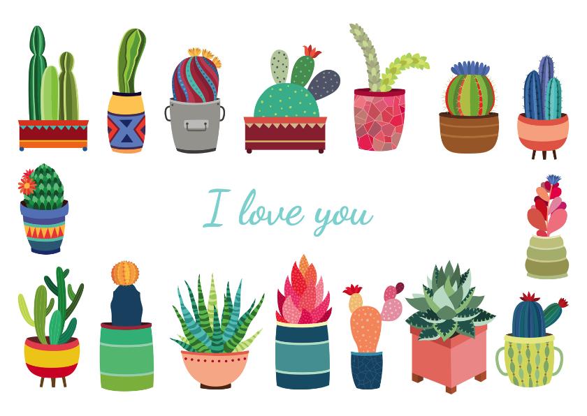 Liefde kaarten - I love you cactus - DH