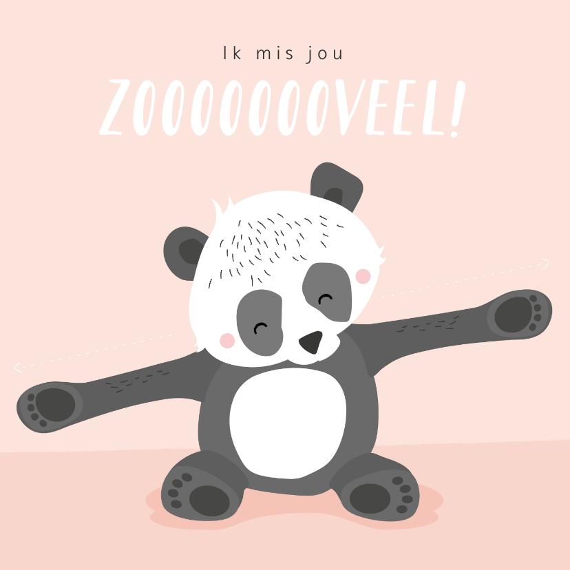 Liefde kaarten - Lief zalmroze kaartje met getekende pandabeer 'ik mis je'