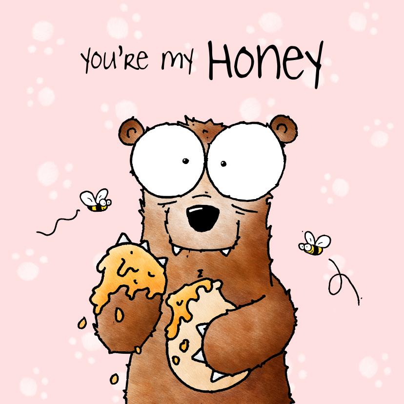 Liefde kaarten - Liefde kaart beer 'You're my honey I'll be your bear'
