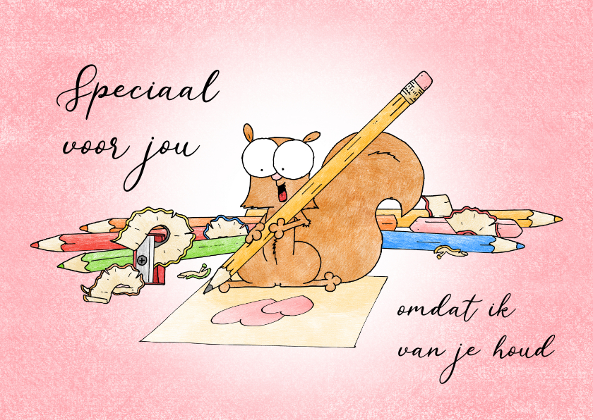 Liefde kaarten - Liefde kaart met een eekhoorn die een hartjestekening maakt