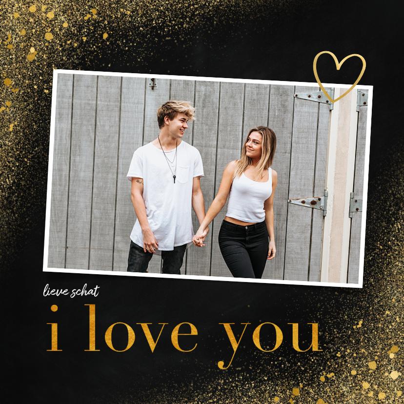 Liefde kaarten - Liefde kaart met foto en goudlook i love you