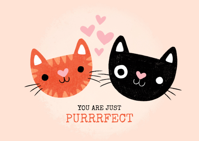 """Liefde kaarten -  Liefde kaart met katten """"You are just purrfect"""""""