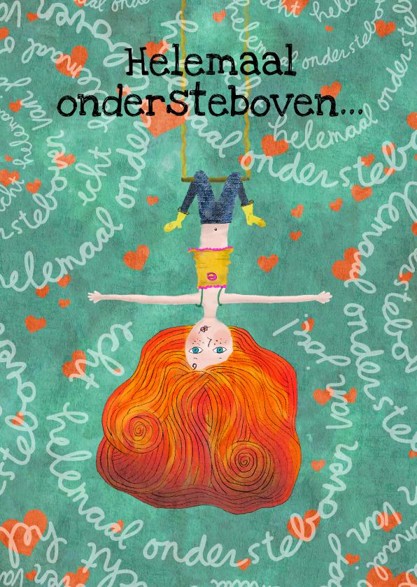 Liefde kaarten - Liefde-kaart met meisje ondersteboven op schommel