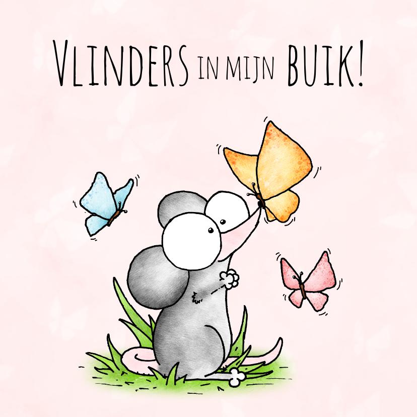 Liefde kaarten - Liefde kaart muisje vlinders in mijn buik