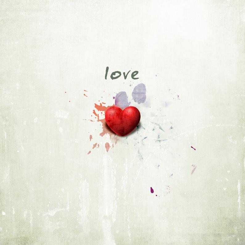 Liefde kaarten - Liefde Kaart Rood Hart Met Love
