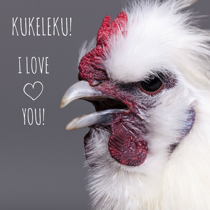 Liefde kaarten - Liefde - Kukeleku I Love you!
