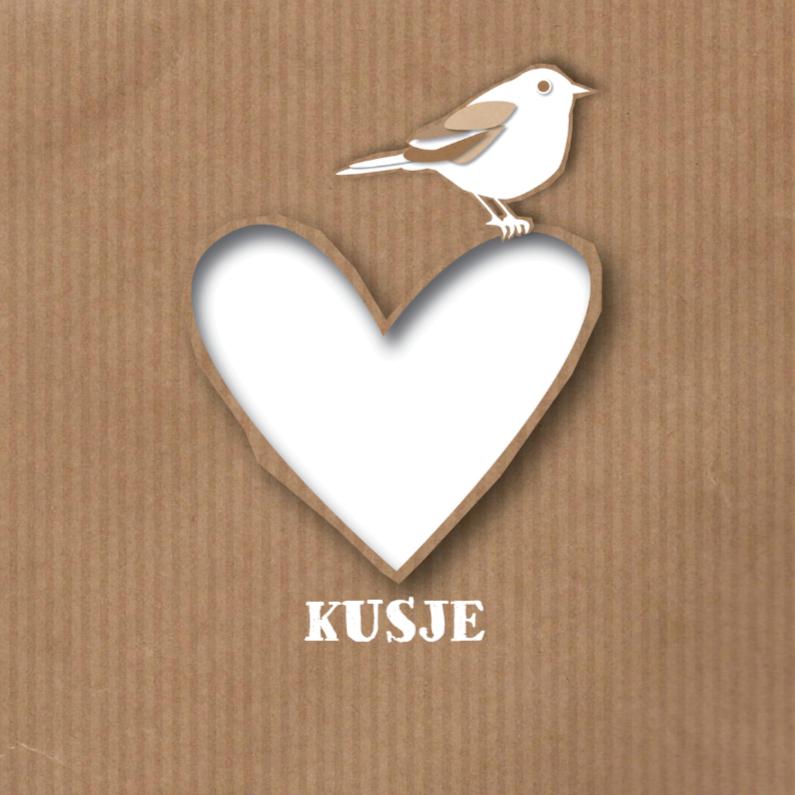 Liefde kaarten - Liefde - Paper Heart Bird - MW