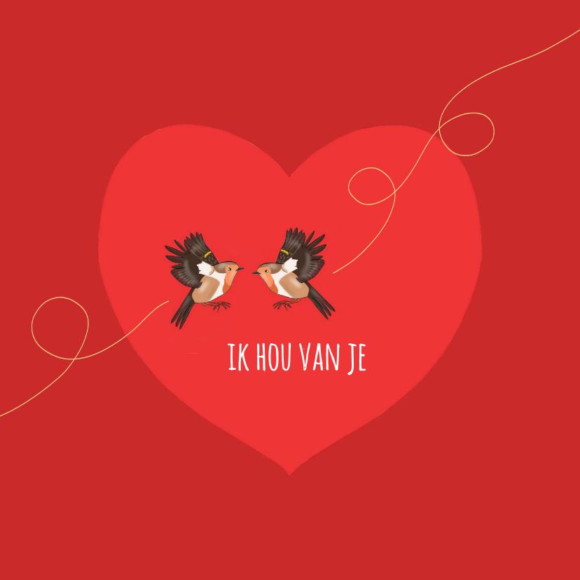 Liefde kaarten - Liefde - twee roodborstjes