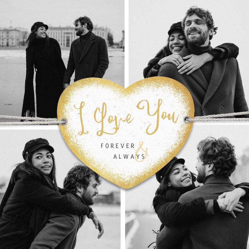 Liefde kaarten - Liefdekaart I love you fotocollage persoonlijk hartje