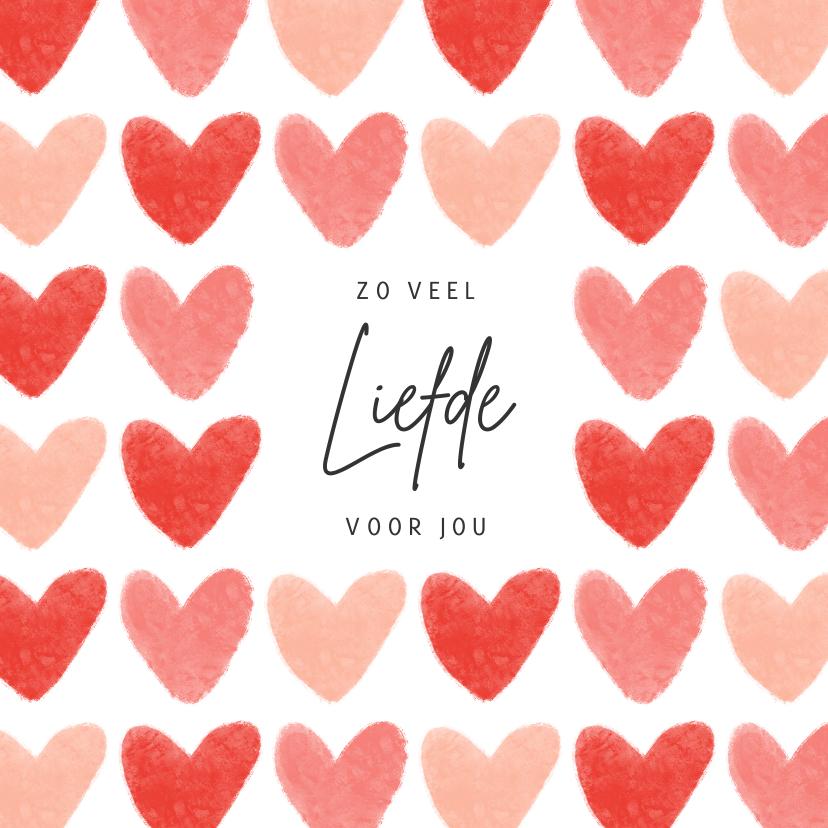 Liefde kaarten - Liefdekaart liefde hartjes fijne valentijn roze rood