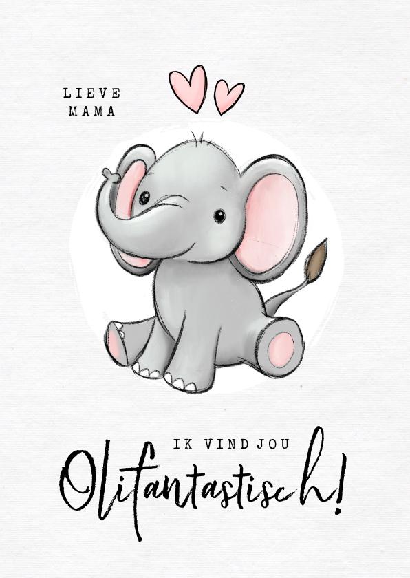 Liefde kaarten - Liefdekaart olifant fantastisch humor kind hartjes