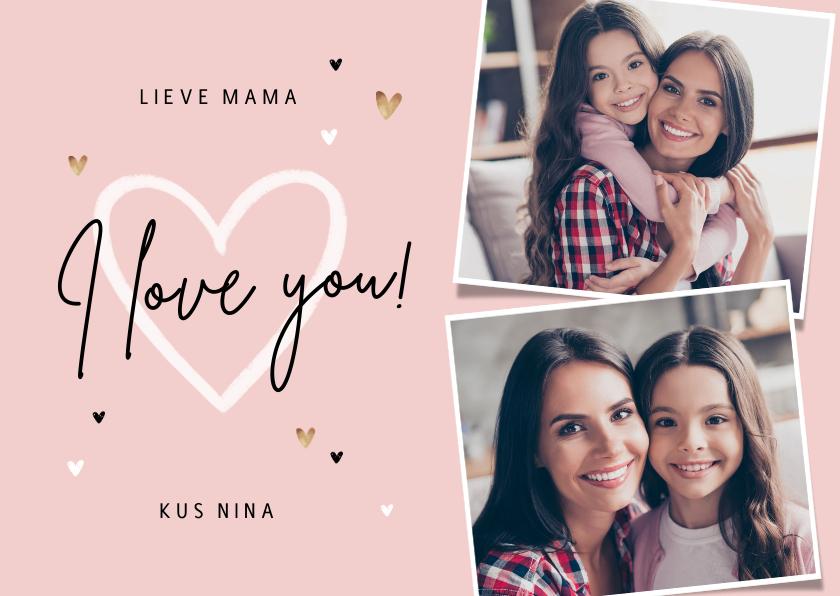 Liefde kaarten - Liefdekaart persoonlijk foto's hartjes mama oma