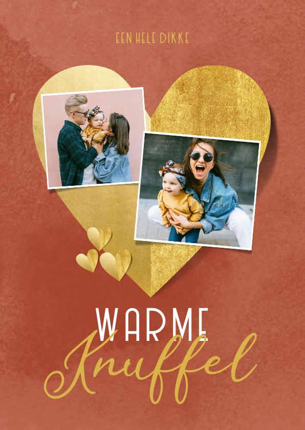 Liefde kaarten - Liefdekaart warme knuffel gouden hartjes foto's rood