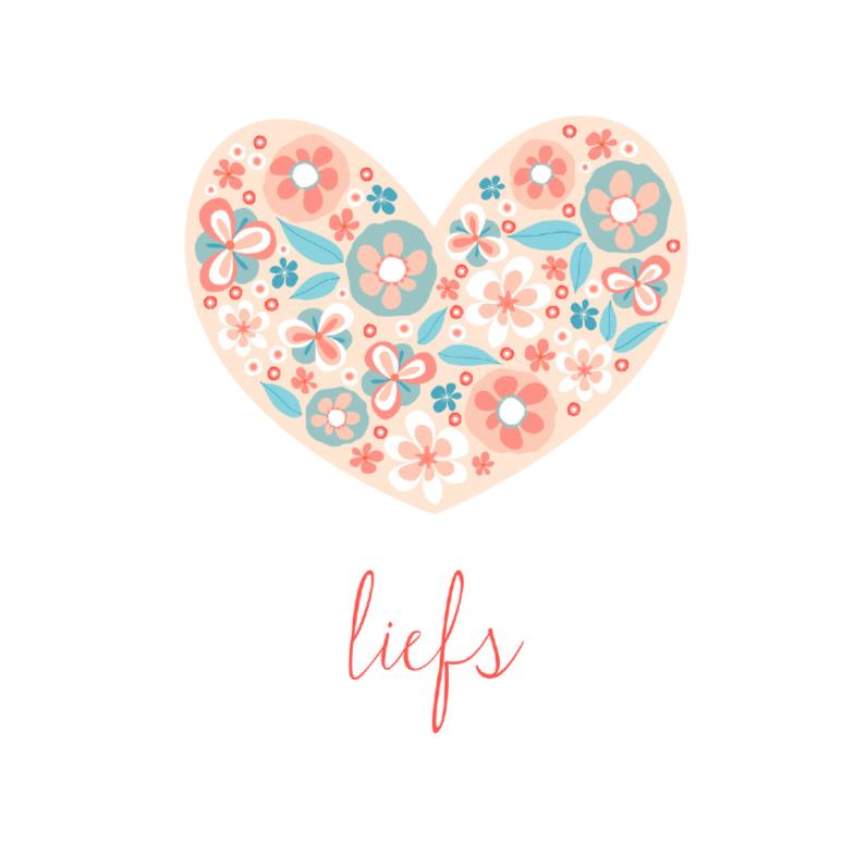 Liefde kaarten - Liefs bloemenhart