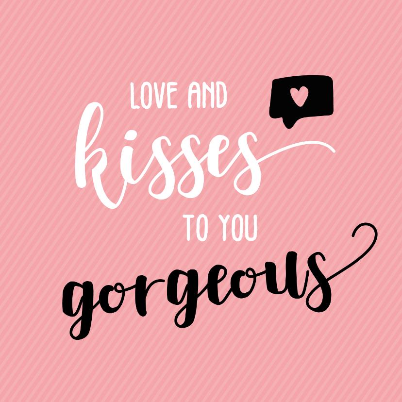 Liefde kaarten - Love and kisses - vriendschapskaart