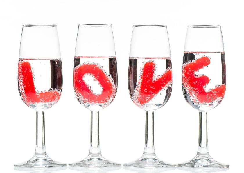 Liefde kaarten - LOVE in champagne glas