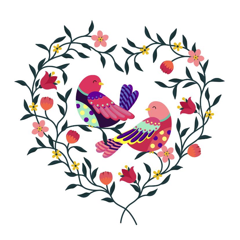 Liefde kaarten - Mooie liefde kaart met vogels in een hart