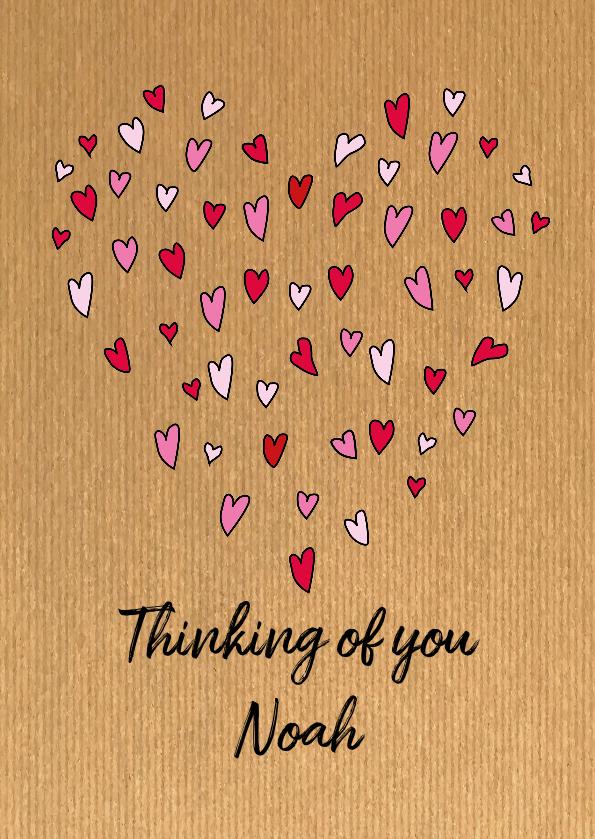 Liefde kaarten - Multi hartjes op kraft en naam aanpasbaar